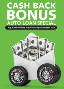 Cash back auto loan special graphic